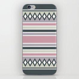 Stripes and diamonds geometric pattern green rose iPhone Skin