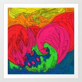 Neon Swirl Art Print