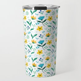 Summer flowers in yellow and blue in white background Travel Mug