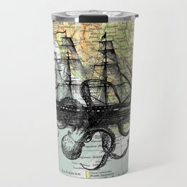 Octopus Attacks Ship on map background Travel Mug