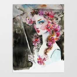 Girl with roses and an umbrella Poster