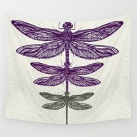 dragonfly Wall Tapestries featuring Dragonfly  by Rskinner1122