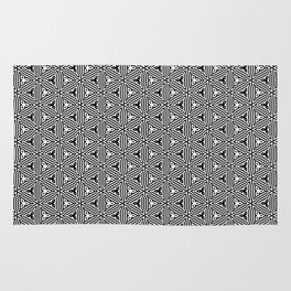 Ancient Triangles Black and White Rug