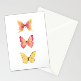 Butterflies Illustration Watercolor - Warm colors Stationery Cards