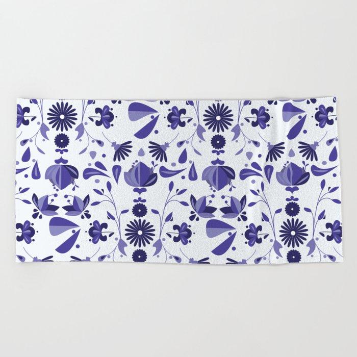 Blue Flower Bohoo Pattern Beach Towel