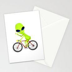 Alien Riding Bike Stationery Cards