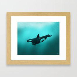 """Lost in Paradise"" by Amber Marine ~ Killer Whale ~ Orca ~ Original Version ~ (Copyright 2015) Framed Art Print"