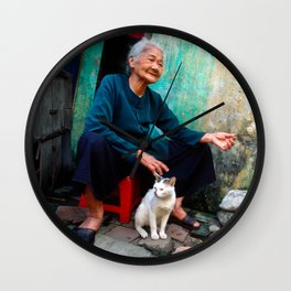 Vietnamese Woman with White Cat Wall Clock