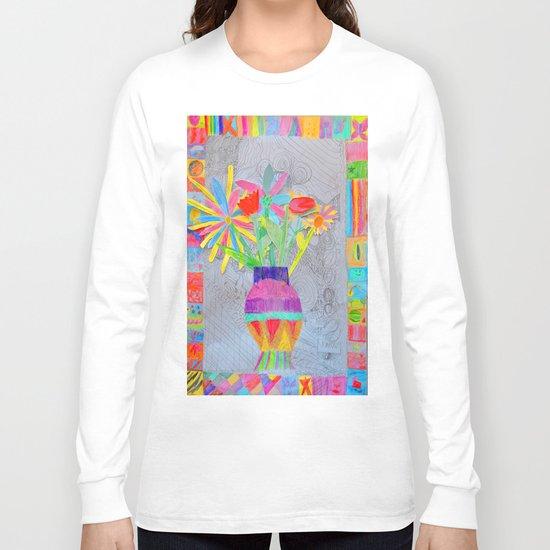 Flower Vase | Kids Painting | 3D Collage Long Sleeve T-shirt