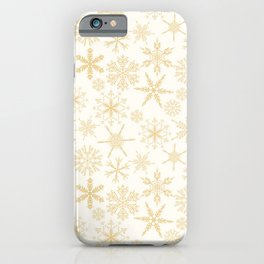 White & Gold Snowflakes iPhone Case