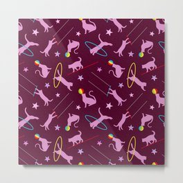 Acrobatic Cats in Dark Pink Metal Print