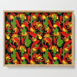 Hot Chilli Peppers, Cacti and Flames Serving Tray