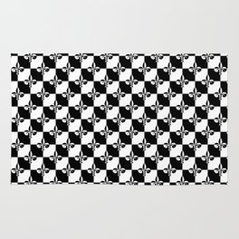 Black and White Checkerboard Checked Squares with French Fleur de Lis Rug