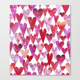 Love trumps hate // heart pattern // pink + red Canvas Print