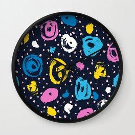Brush color circle and blot Wall Clock