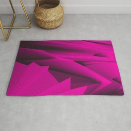 Psychedelic foil pink landscap with stylised mountains, sea and Sun. Rug