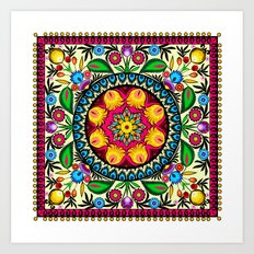 folk flowers collage Art Print