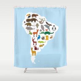 South America sloth anteater toucan lama bat fur seal armadillo boa manatee monkey dolphin Shower Curtain