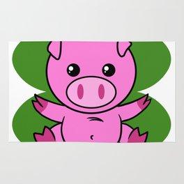 Pig On Four Leaf Clover - St. Patricks Day Funny Rug