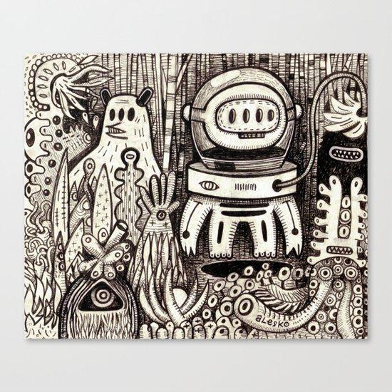 OGM GARDEN - La visite Canvas Print
