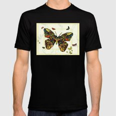 Colorful Butterfly Collage Mens Fitted Tee Black MEDIUM