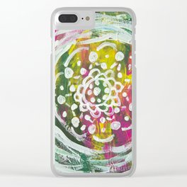 Yellow Pink Mandala Clear iPhone Case