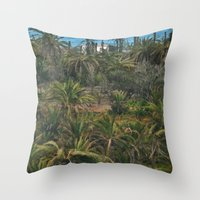 oasis Throw Pillows featuring Oasis. by calvin./CHANCE