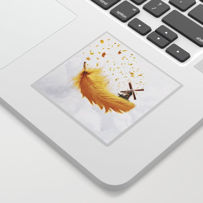 Air Feather • Yellow Feather (horizontal) Sticker
