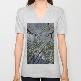 Tree canopy in the spring Unisex V-Neck
