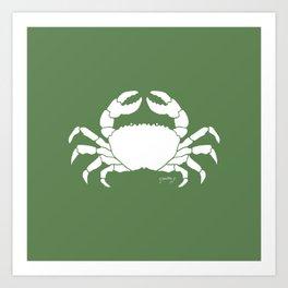 Crab Green Background Art Print