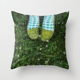 Shamrock Socks in a Green Clover Field Throw Pillow