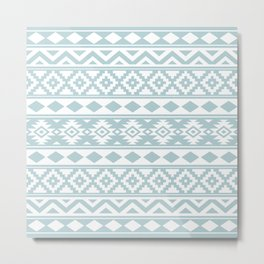 Aztec Essence Ptn IIIb Duck Egg Blue & White Metal Print