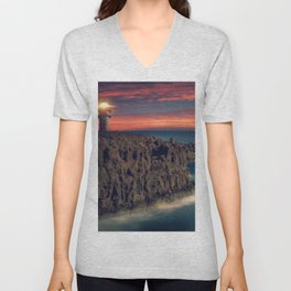 Lighthouse At Cliffside At Romantic Sunset Ultra HD Unisex V-Neck
