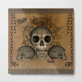 Awesome skulls with celtic knot Metal Print