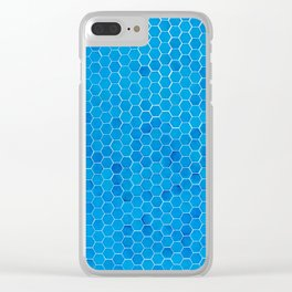 Turquoise Blue Sequins Clear iPhone Case