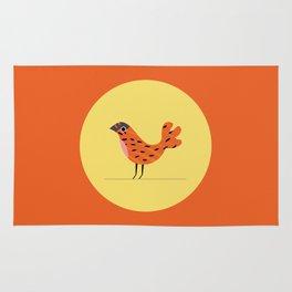 Bird print George, digital illustration, animal print, pastel, scandinavian poster Rug