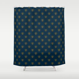 Vintage Midnight Blue and Golden Honey Bee Shower Curtain