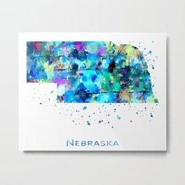 Nebraska Map Metal Print