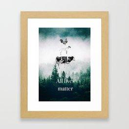 All lives matter go vegan Framed Art Print