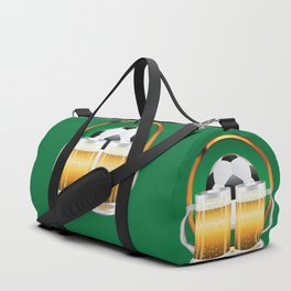 Beer glasses and Soccer Ball in green circle Duffle Bag
