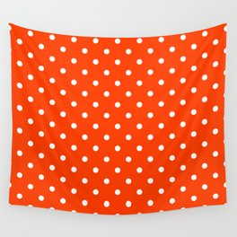 Orange Pop and White Polka Dots Wall Tapestry