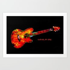 Guitar On Fire By Annie Zeno  Art Print