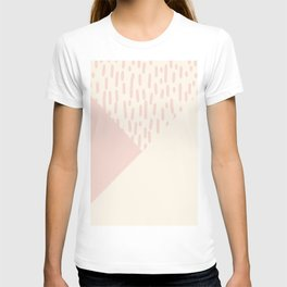 Modern geometrical ivory pink color block paint brushstrokes T-shirt