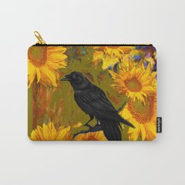 CROW & SUNFLOWERS KHAKI ART Carry-All Pouch