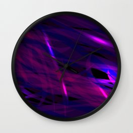 Rich purple and smooth sparkling lines of blueberry ribbons on the theme of space and abstraction. Wall Clock