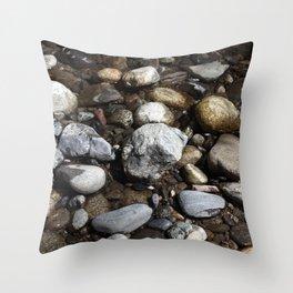 Cobblestones Of Big Sur River Throw Pillow