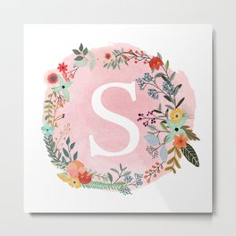 Flower Wreath with Personalized Monogram Initial Letter S on Pink Watercolor Paper Texture Artwork Metal Print