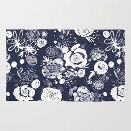 Summer Garden Indigo Floral Pattern Rug