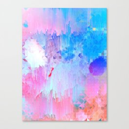 Abstract Candy Glitch - Pink, Blue and Ultra violet #abstractart #glitch Canvas Print