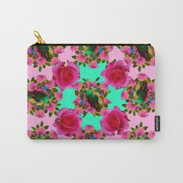 GREEN PEACOCK &  PINK ROSE GARDEN PINK PATTERN Carry-All Pouch